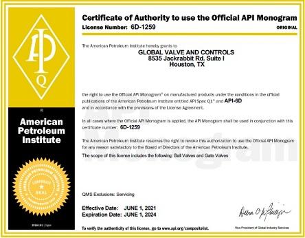 API-6D-American-Petroleum-Institute-Certification-Global-Valve-and-Controls-2021